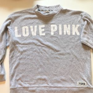 Victoria Secret Love Pink Sweatshirt Large L Gray